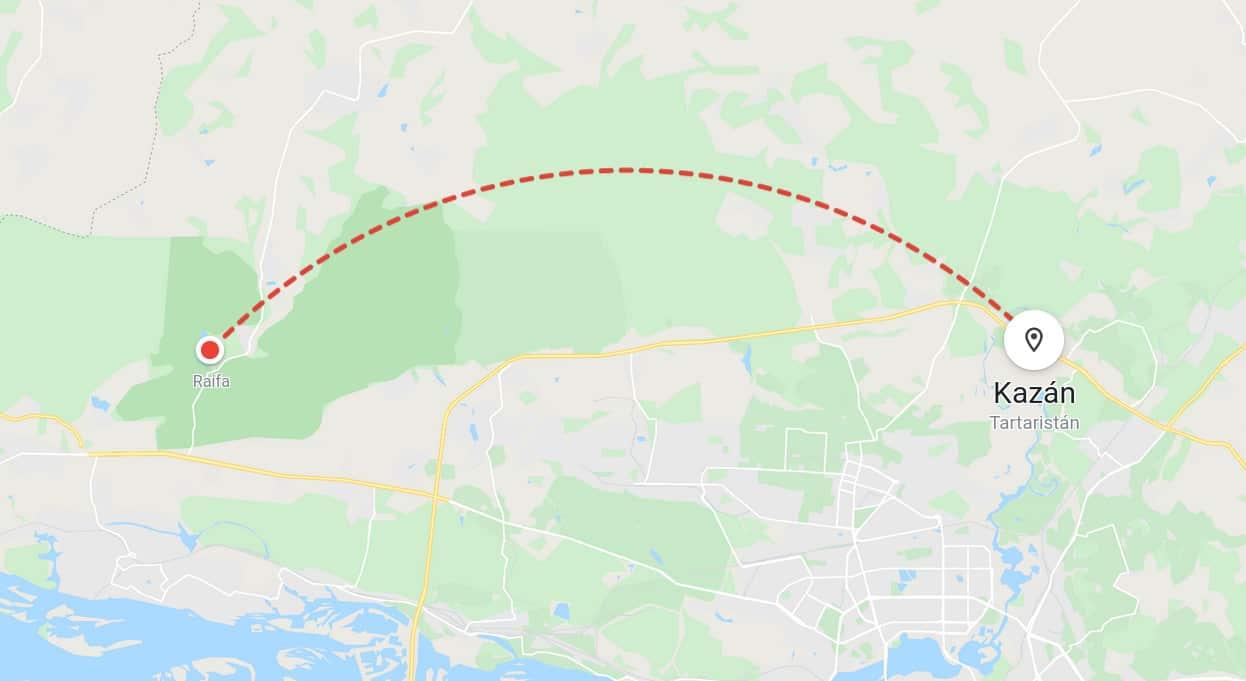 Mapa recorrido Moscú Kazan